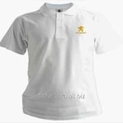 Рубашка поло Peugeot белая вышивка золото фото