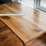 Стол из древесины ореха, подстолье сталь фото