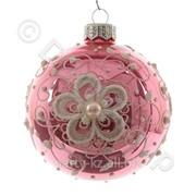 Декор Шар стекл. яркорозовый с цветами фото