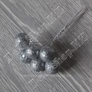 Букетик глиттерных шариков на проволоке, 6 штук, цвет Серебро фото