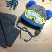 """Детский комплект для мальчиков - шапка """"Очки""""с шарфиком, в расцветках фото"""