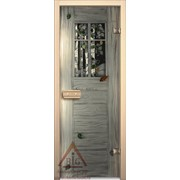 Дверь для бани АКМА АРТ с Фьюзингом ОКОНЦЕ 7х19 (коробка липа) фото