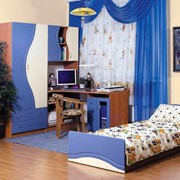 Детская комната Эколь Синий-Ваниль с Кровaть ю фото