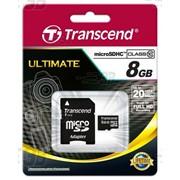 8Gb Transcend карта памяти microSDHC, Class 10, Адаптер SD