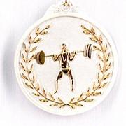 Медаль рельефная Тяжелая Атлетика серебро фото