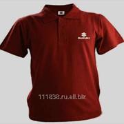 Рубашка поло Suzuki бордовая вышивка белая фото