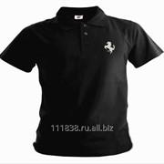 Рубашка поло Ferrari черная вышивка белая фото