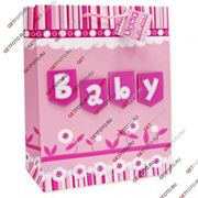 Детский подарочный пакет 26х32х13, бумажный, ДЛЯ МАЛЫШКИ, с апликацией, BABY GF 2473 фото