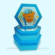 Коробочка шестиугольная с мишкой фото