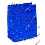 Подарочный пакет 26х32х12, бумажный, МИШУРА, синий GF 1316 фото