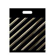 Пакет с прорубной ручкой ПВД 50мкм, Золотая полоса фото