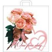 """Пакет """"Розовое сердце"""" с петлевой ручкой фото"""