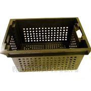 Ящик полимерный многооборотный № 2(черный),с решетчатой стенкой. (600х400х280 мм.) фото