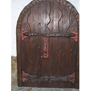 Двери под старину арочние широкие. фото