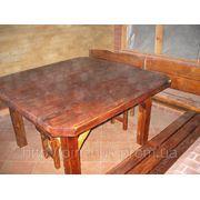 Мебель под старину. Стол 1400х1400мм и четире лавки фото