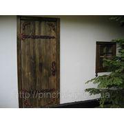 Двери под старину с элементами ковки. Полотно и коробка. фото