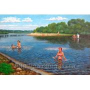 """Картина """" В жаркий день на реке"""""""