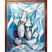 Композиция «Натюрморт с белыми лилиями». фото