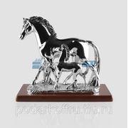 Скульптура «Лошадь с жеребёнком», серебро матовое фото