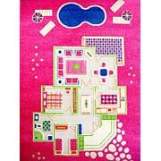 """Детский 3D ковер """"Игровой домик"""" розовый, 134х200см (IVI) фото"""