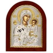 Иверская Икона Божией Матери позолота на серебре Silver Axion 85 х 100 мм фото