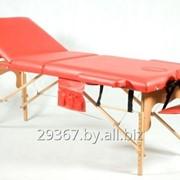 Складной 3-х секционный деревянный массажный стол BodyFit, красный фото