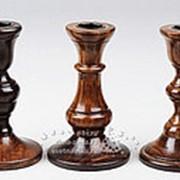Подсвечник деревянный лакированный, под 1 свечу, 13 см (Kaemingk) фото
