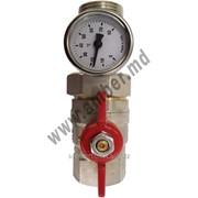 """Шаровой кран с термометром 1/2"""" красный рычяг (17410200008) фото"""