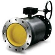 Кран стальной шаровый 11с32п Ду150/125 Ру25 присоединение фланец-фланец под редуктор и привод фото