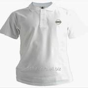 Рубашка поло Nissan белая вышивка серебро фото