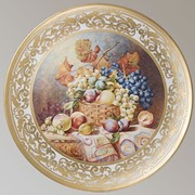 Декоративная тарелка выполнена по мотивам картины William Duffield 'Still Life with Basket of Fruit onTable with a Rug' фото