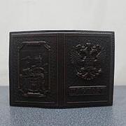 """Кожаная обложка для паспорта """"Ласточкино гнездо"""" коричневый фото"""