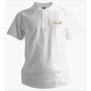 Рубашка поло Infiniti белая вышивка золото фото