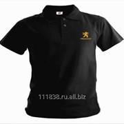 Рубашка поло Peugeot черная вышивка золото фото