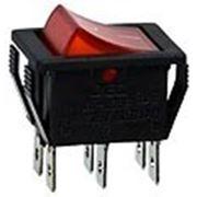 RS-608FBL0BRBT2 выключатель 2хON-ON 250В 15А с кр. подсв. (B127B,SWR74). фото