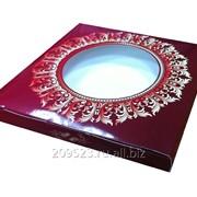 Коробка подарочная для тарелки с окном Бордовый винтаж фото