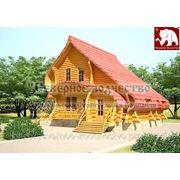 Сруб деревянного дома №3-204 серии Футура ручной рубки из круглого не оцилиндрованного бревна фото
