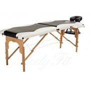 Массажный стол 2-х секционный деревянный черно-белый фото