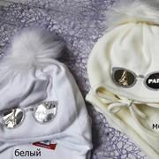 Детский комплект: шапка с декором - очки и шарф фото
