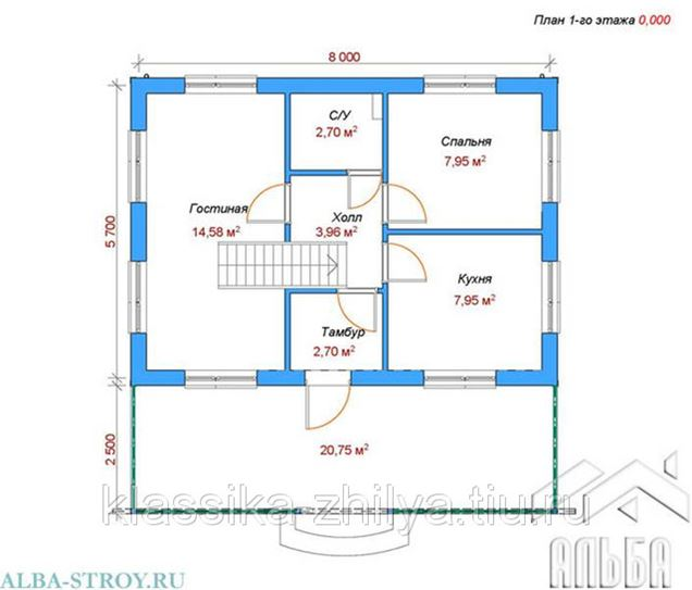 Проект дома из газобетонных блоков 66_43VK