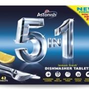 Таблетки для посудомоющих машин 5 в 1 НОВАЯ ФОРМУЛА (42шт/уп) ТМ Astonish (Англия) фото