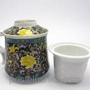 Чашка заварочная с ситом BN1380-2 Цветочный орнамент 300 мл фото