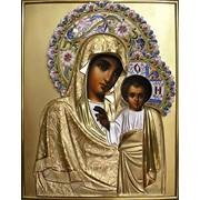 Оклад иконы в эмали Казанская Богоматерь, филигрань, серебро, позолота фото