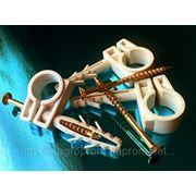 Хомут (обойма) 13-14 mm быстрого монтажа (хомут,зажим) с ударным шурупом для крепления труб,кабелей и проводов фото