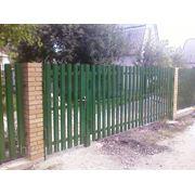 Ворота из металлического штакетника фото