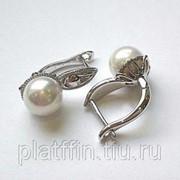 82 Серьги жемчуг серебро фото