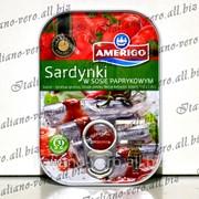 Сардины в соусе паприк Amerigo 110г. фото