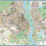 Настенная карта г. Киева к каждому дому - 190х158 см - на планках фото