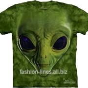 Футболка мужская The Mountain Green Alien Face с лицом пришельца