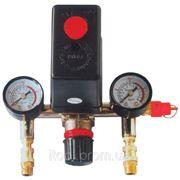Прессостат в сборе (прессостат, редуктор, 2 манометра, предохранительный клапан, два выхода) Intertool PT-9094 фото